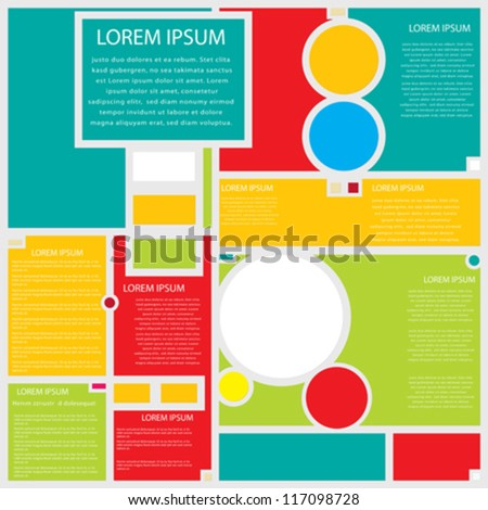 Conceptual web page design in shapes and colors. - stock vector