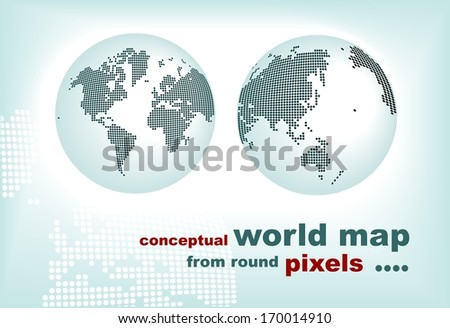 conceptual world map from round pixels - stock vector