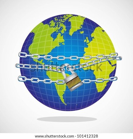 conceptual world with chain and padlock isolated on white background vector illustration - stock vector