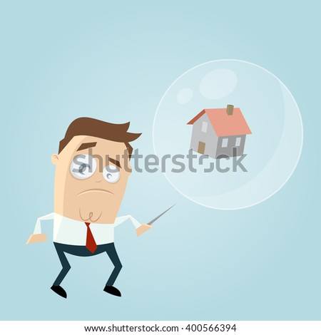 concerned businessman with house in a soapbubble and a needle - stock vector