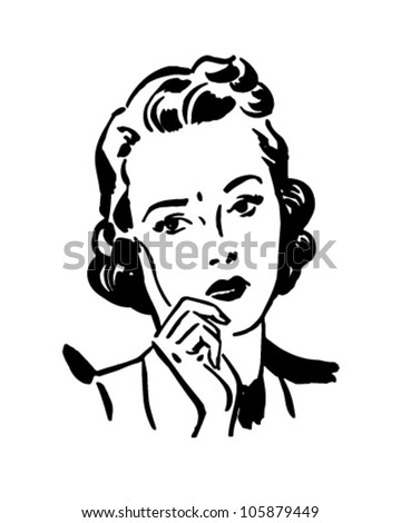 Concerned Woman - Retro Clipart Illustration