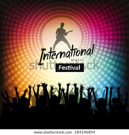 Concert crowd, Music festival, Dancing People, Party poster with colorful background. - stock vector