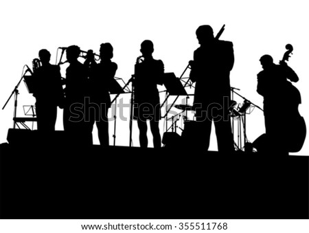 Concert of jazz music on white background - stock vector