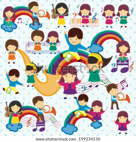 concert on rainbow children illustration - stock vector
