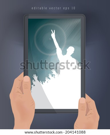 Concert poster on tablet. Vector