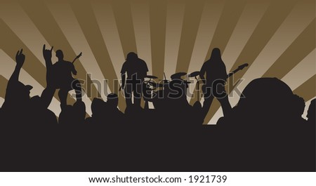 Concert silhouette showing the four piece band and crowd rockin out. - stock vector