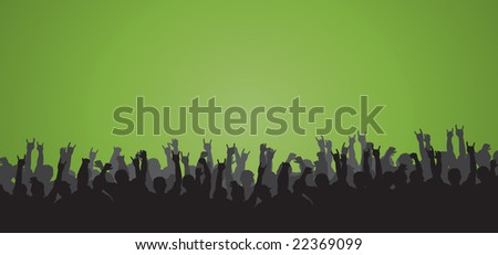 Concert silhouette with crowd rocking out, perfect for backgrounds. - stock vector