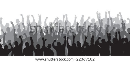 Concert silhouette with crowd rocking out, perfect for backgrounds.