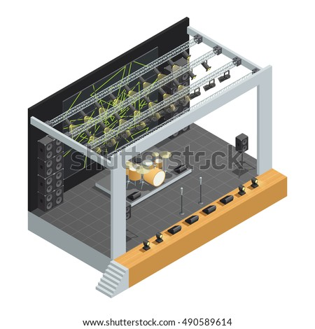 Concert stage isometric poster construction with microphones different speakers system of spotlights and drum kit vector illustration