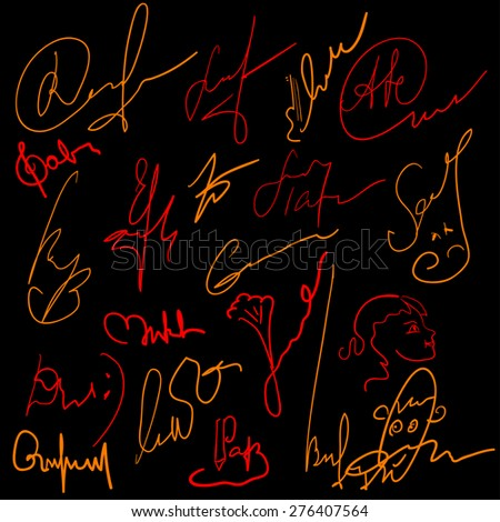 Concocted signature set - stock vector