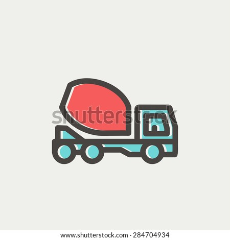 Concrete mixer truck icon thin line for web and mobile, modern minimalistic flat design. Vector icon with dark grey outline and offset colour on light grey background.