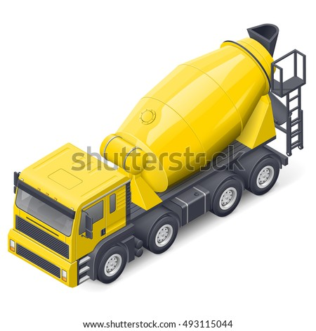 Concrete mixer truck isometric detailed icon vector graphic illustration design