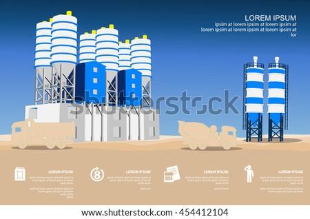 concrete plant infographics - stock vector