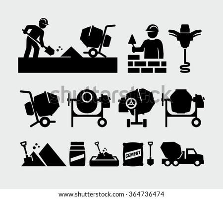 Concrete work vector icons  - stock vector