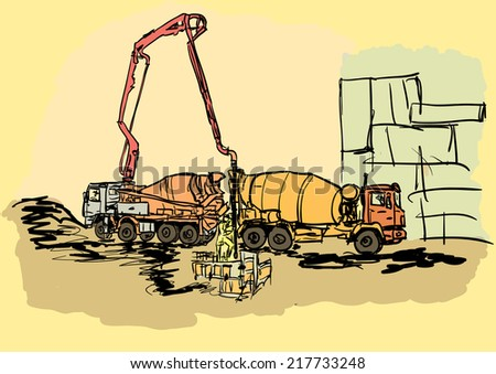 concreting works - stock vector