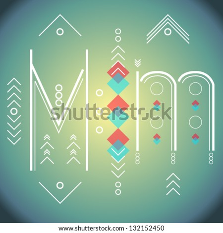 Condensed Letters M m - stock vector