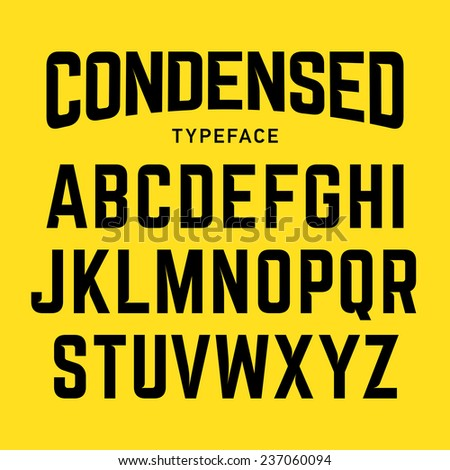 Condensed typeface, industrial bold style font. Vector. - stock vector