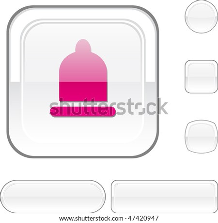 Condom white buttons. Vector illustration. - stock vector