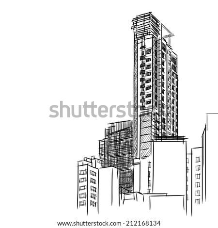 Condominium sketchbook : vector eps10 - stock vector