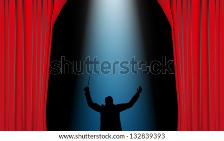 Conductor with red curtain and blue spotlights