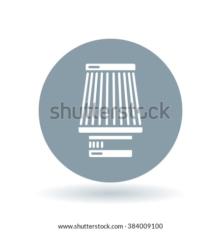 Cone filter induction kit icon. Performance car air intake sign. Modified vehicle air filter symbol. White car air filter icon on cool grey circle background. Vector illustration. - stock vector