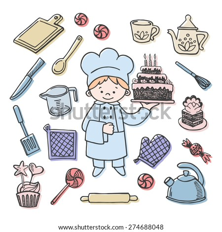 Confectioner tools color vector icons set. Profession background - stock vector