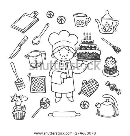 Confectioner white and black tools vector icons set. Profession background - stock vector