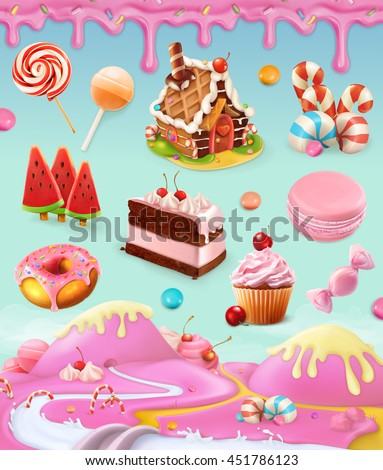 Confectionery and desserts, cake, cupcake, candy, lollipop, whipped cream, icing, set of vector graphics objects with sweet pink background, mesh illustration - stock vector