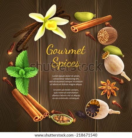 Confectionery gourmet spices food product decorative elements on dark wooden background vector illustration - stock vector