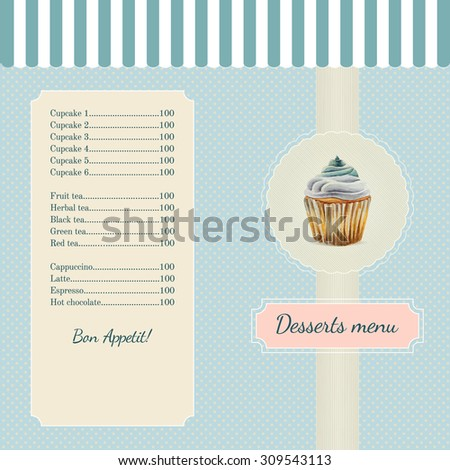 Confectionery menu template with watercolor cupcake illustration in retro style