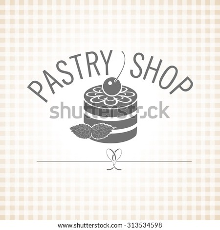 Confectionery. Pastry shop. Vector monochrome logo. Cake with icing, decorated with a mint leaf. - stock vector