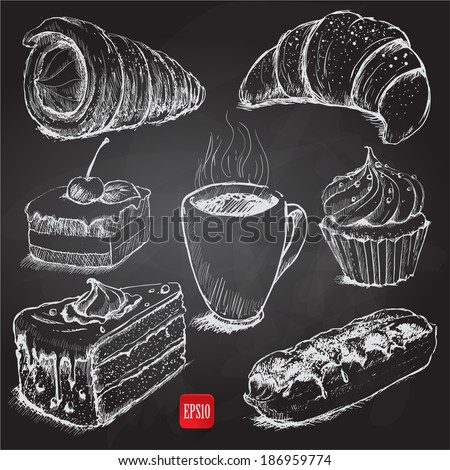 confectionery. set of vector sketches on chalkboard - stock vector