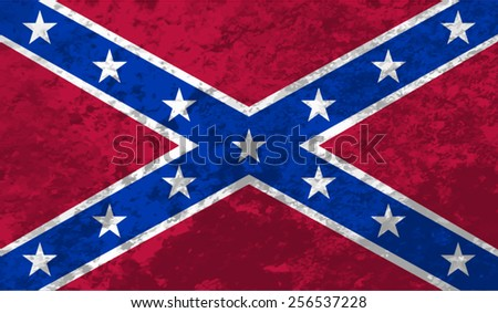 Confederate, Confederacy Flag on concrete textured background - stock vector