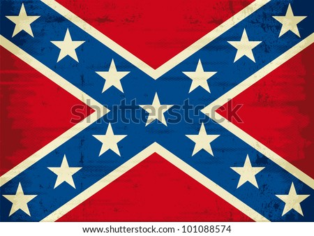 Confederate flag grunge - stock vector