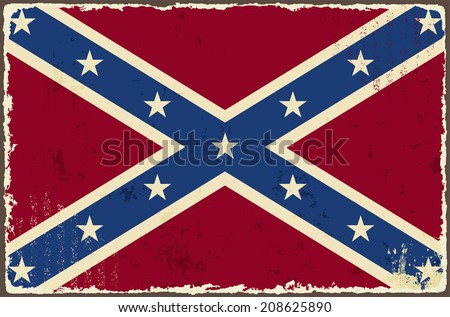 Confederate grunge flag. Vector illustration. Grunge effect can be cleaned easily.