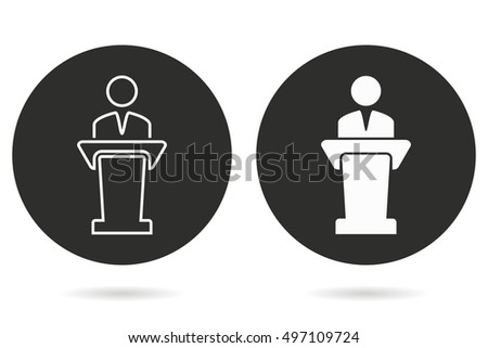 Conferece vector icon. White illustration isolated on black background for graphic and web design.