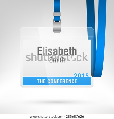Conference Badge Name Tag Placeholder Blank Stock Vector 285687626