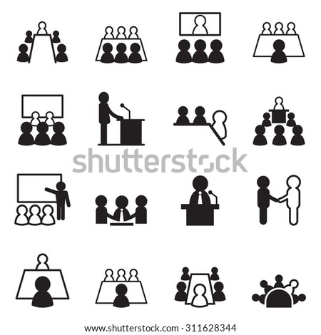 conference icon set - stock vector