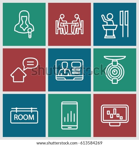 conference icons set set 9 conference stock vector 613584269