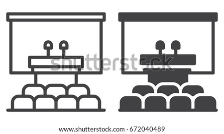conference room icon line solid version stock vector royalty free