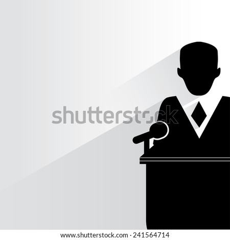 conference speech, declaration concept on white background, flat and shadow theme