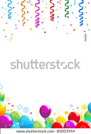Confetti and Balloons Illustration 10 document - stock vector