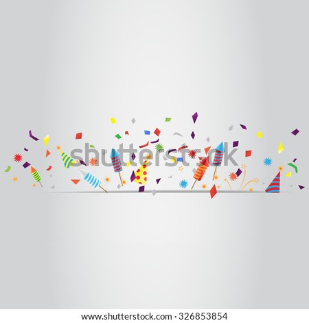 confetti and firework background, can be ues for celebration, new year, birthday, christmas greeting card.  also design for web page, business banner, cover page. vector illustration - stock vector