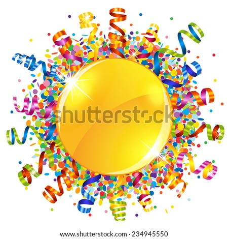 Confetti and serpentine sun - stock vector