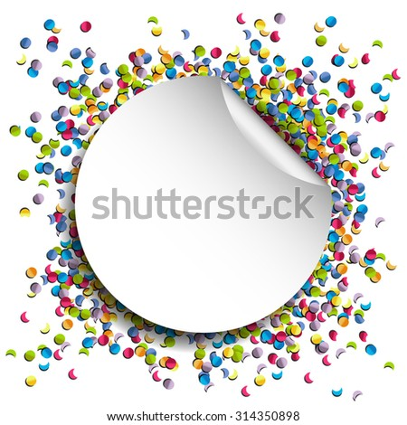 confetti background with a paper circle vector