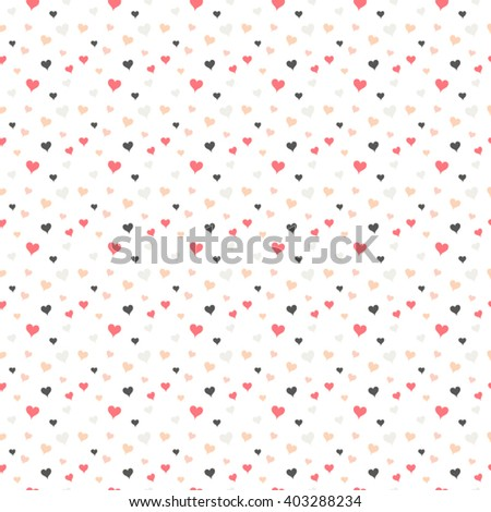 Confetti hearts seamless pattern. Colorful hearts vector repeat pattern. - stock vector
