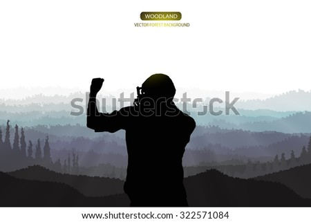 confidence man standing on the top of mountain - stock vector