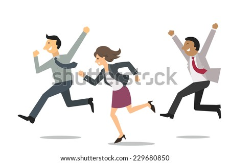 Confident business people running into the same direction with happy and cheerful expression. Business concept in winning and successful team.  - stock vector
