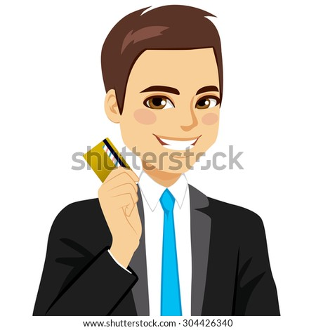 Confident businessman holding golden credit card with right hand - stock vector