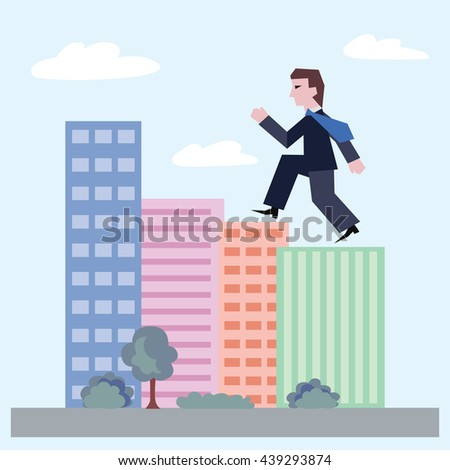 Confident businessman walking up the houses. Concept of business with person walking to the success. Modern flat design of urban landscape with city buildings, vector illustration. - stock vector